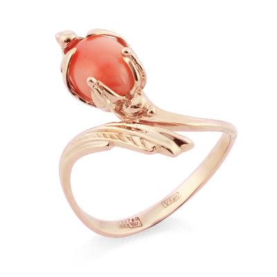 Кольцо с кораллом золотое 3.37 г SL-0245-337