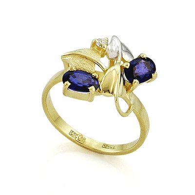 Золотое кольцо с сапфирами и бриллиантом 3.31 г SL-0190-331