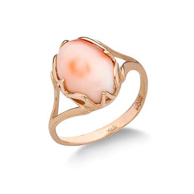 Кольцо с розовым кораллом 4 г SL-2103-400