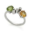 Серебряное кольцо с самоцветами: хризолитом, цитрином и топазами SL-02225-250 весом 2.51 г  стоимостью 2200 р.