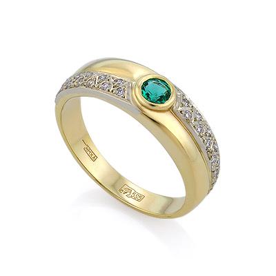 Золотое кольцо с изумрудом и бриллиантами 4.2 г SLV-K226