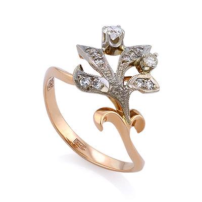 Золотое кольцо с бриллиантами 3.35 г SLV-K004