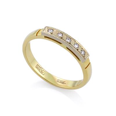Золотое кольцо с бриллиантами 2.27 г SLV-K083