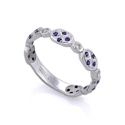 Золотое кольцо с сапфирами и бриллиантами 2.4 г SLV-K084