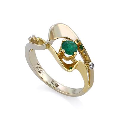 Эксклюзивное золотое кольцо с изумрудом и бриллиантами 2.7 г SLV-K008