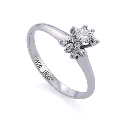 Золотое кольцо с бриллиантами 2.65 г SLV-K257