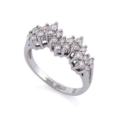 Золотое кольцо с бриллиантами 3.52 г SLV-K422