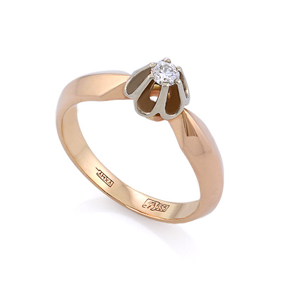 Золотое кольцо с бриллиантами 3.5 г SLV-K124