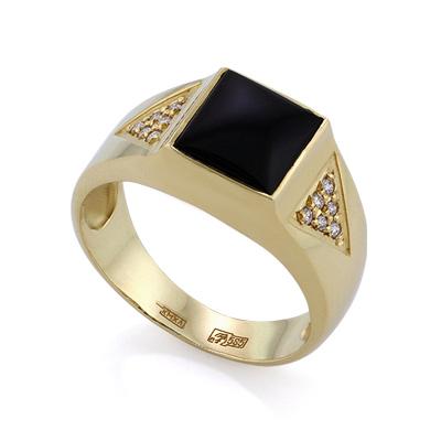 Золотое кольцо с бриллиантами и агатом 5.87 г SLV-K373