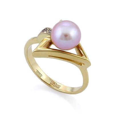 Золотое кольцо с розовым жемчугом и бриллиантами 5.32 г SLV-K074