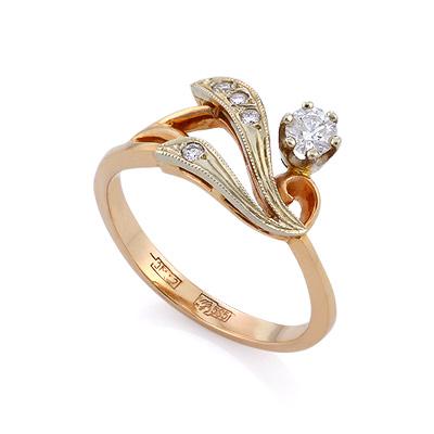Золотое кольцо с бриллиантами 3.55 г SLV-K097