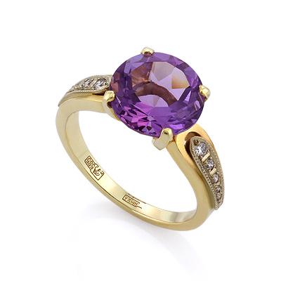 Золотое кольцо с аметистом и бриллиантами 5.35 г SLV-K365