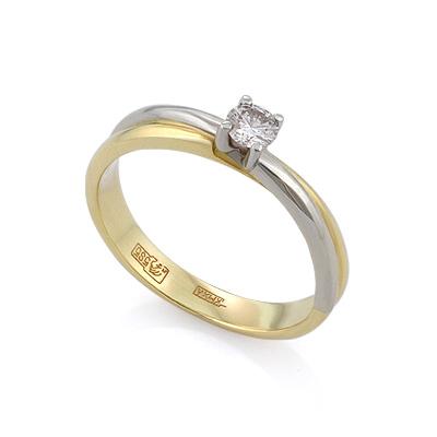 Золотое кольцо с бриллиантами 2.55 г SLV-K036