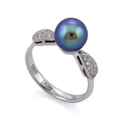 Золотое кольцо с черным жемчугом и бриллиантами 3.14 г SLV-K244