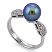 Золотое кольцо с черным жемчугом и бриллиантами SLV-K244 весом 3.14 г  стоимостью 27000 р.