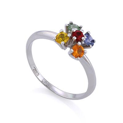 Золотое кольцо с разноцветными сапфирами 2.8 г SLV-K268