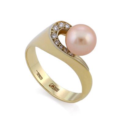 Золотое кольцо с розовым жемчугом и бриллиантами 6.65 г SLV-K027