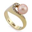 Золотое кольцо с розовым жемчугом и бриллиантами SLV-K027 весом 6.65 г  стоимостью 39600 р.