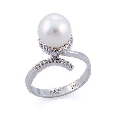 Кольцо из белого золота с жемчугом и бриллиантами 5.34 г SLV-K413