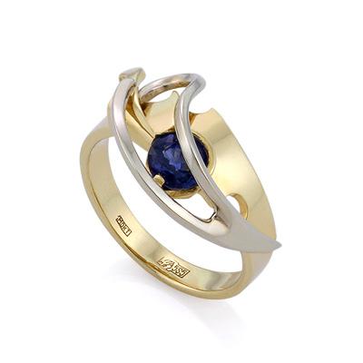 Эксклюзивное кольцо из золота с сапфиром 4.73 г SLV-K147