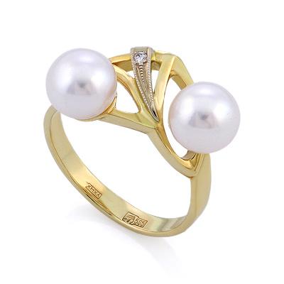 Золотое кольцо с двумя жемчужинами и бриллиантом 5.27 г SLV-K057
