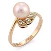 Золотое кольцо с розовым жемчугом и бриллиантами SLV-K446 весом 3.4 г  стоимостью 19800 р.
