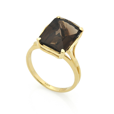 Кольцо с раухтопазом из желтого золота 4.65 г SL-2839-480