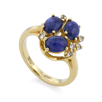 Золотое кольцо с сапфирами кабошон 5.39 г SLV-21621