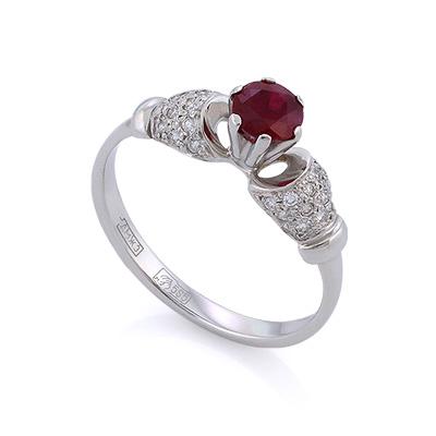 Золотое кольцо с рубином и бриллиантами 2.52 г SLV-2168B