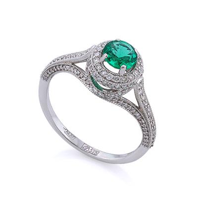 Золотое кольцо с изумрудом и бриллиантами 2.56 г SLV-0454