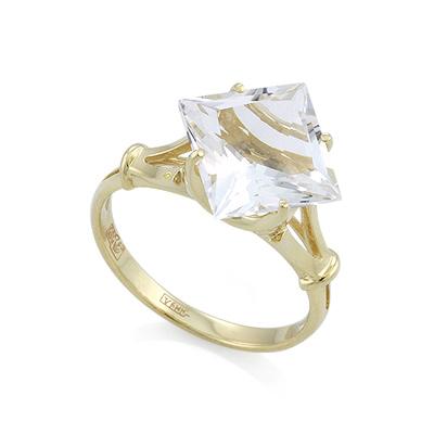 """Золотое кольцо с горным хрусталем огранки """"Принцесса"""" 3.6 г SL-0255-360"""