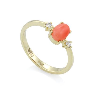 Кольцо из золота с глубоководным кораллом и бриллиантами 2.53 г  SL-155-253k