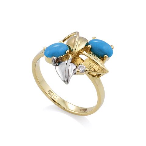 Кольцо с бирюзой и бриллиантом 3.47 г SL-0190-345