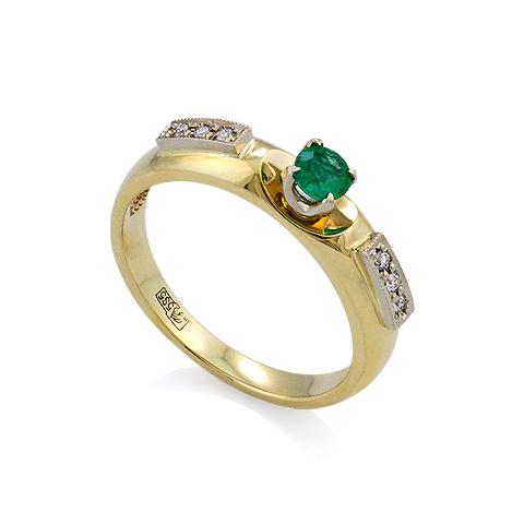 Кольцо с изумрудом и бриллиантами 3.36 г SLR-138-336