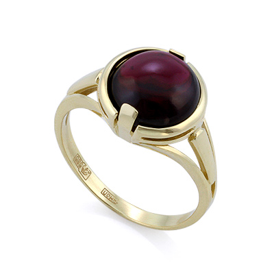 Золотое кольцо с гранатом кабошон 4.15 г SLK-2844-415