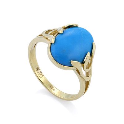 Золотое кольцо с бирюзой в желтом золоте 3.78 г SL-2842-400