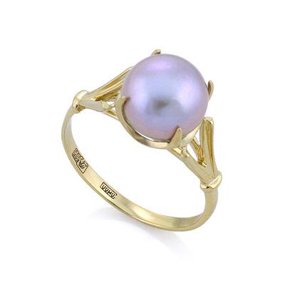 Золотое кольцо с серым жемчугом 3.05 г SL-0259-300