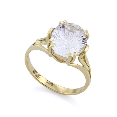 Кольцо с желтом золоте с горным хрусталем 3.85 г SLK-2854-385