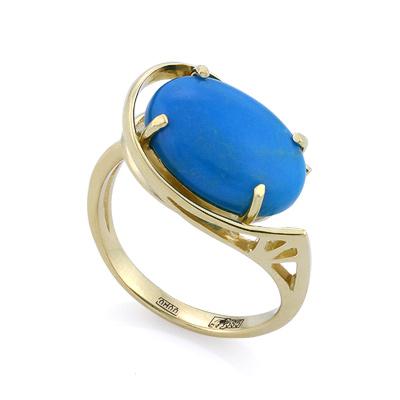Кольцо с натуральной бирюзой 4.62 г SLK-2275-465