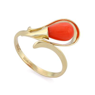 Кольцо с кораллом в желтом золоте 2.77 г SL-2866-280
