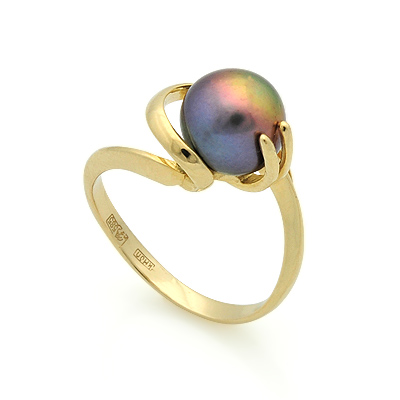Золотое кольцо с черным жемчугом 3.9 г SL-2133-392
