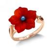 Кольцо с кораллом в форме цветка SL-0217-300 весом 2.96 г  стоимостью 14500 р.