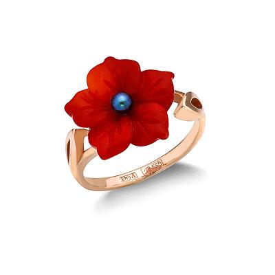 Кольцо с кораллом в форме цветка 2.96 г SL-0217-300