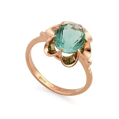 Кольцо из золота <em>с аквамариновым <noindex>кварцем</noindex></em> 3.4 г SL-0223-340