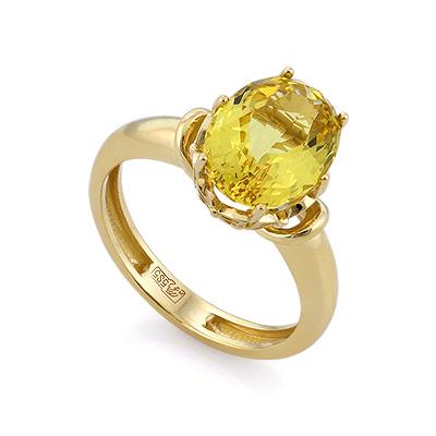 Золотое кольцо с гелиодором 4.62 г SL-0224-462
