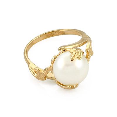 Оригинальное кольцо с белой жемчужиной 5.6 г SL-0242-560