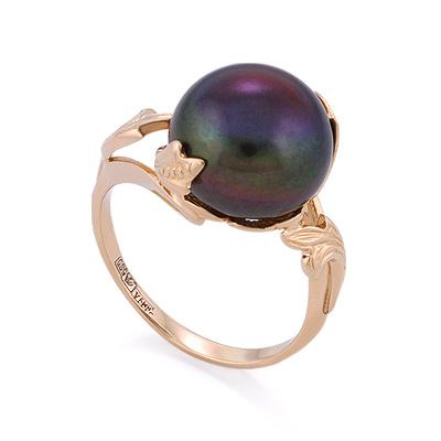 Золотое кольцо с крупным черным жемчугом 6.18 г SL-0242-618