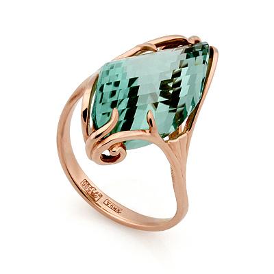 Кольцо из золота <noindex>с кварцем</noindex> &mdash; <em>имитация аквамарина</em> 4.8 г SL-02431-480