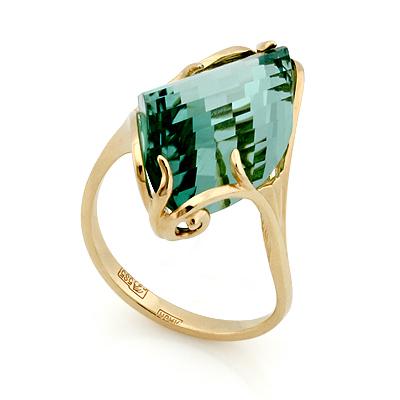 Золотое кольцо <noindex>с кварцем</noindex> &mdash; <em>имитация аквамарина</em> 5.1 г SL-02431-510