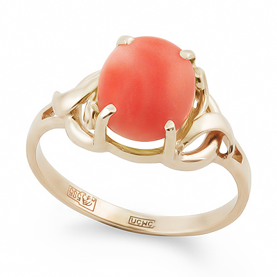Кольцо с кораллом золотое 2.98 г SL-0249-295